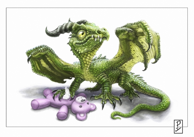 Cute dragon with toy x1600